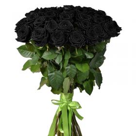 букет 25 чорних троянд