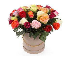 різнокольорові троянди у коробці