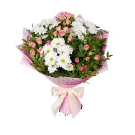 букет хризантеми та кущові троянди