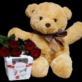 Ведмедк з букетом троянд і цукерками фото подарунка