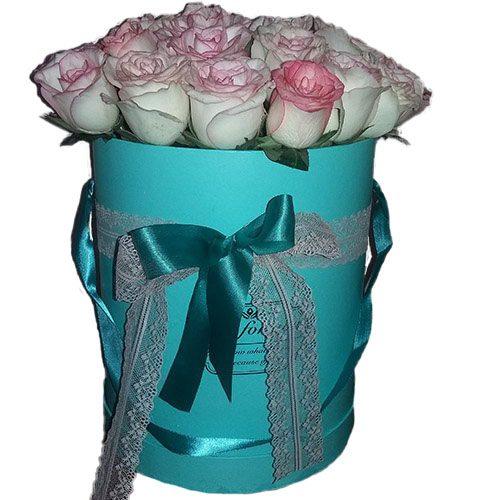 """фото букета 21 троянда """"Джумілія"""" в коробочці"""