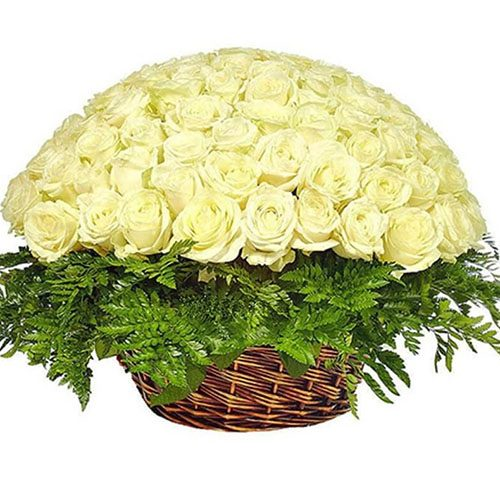 фото букета Кошик 101 біла троянда