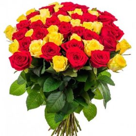 51 троянда червона та жовта
