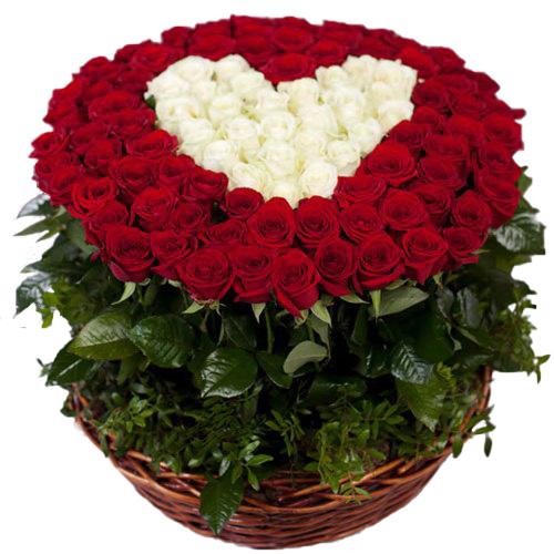 "фото букета 101 троянда ""Серце в кошику"""
