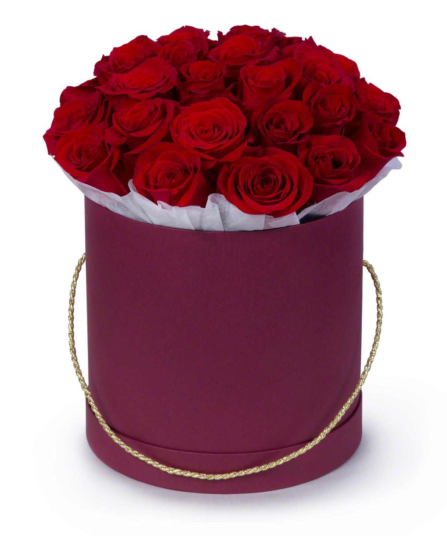 21 червона троянда у капелюшній коробці
