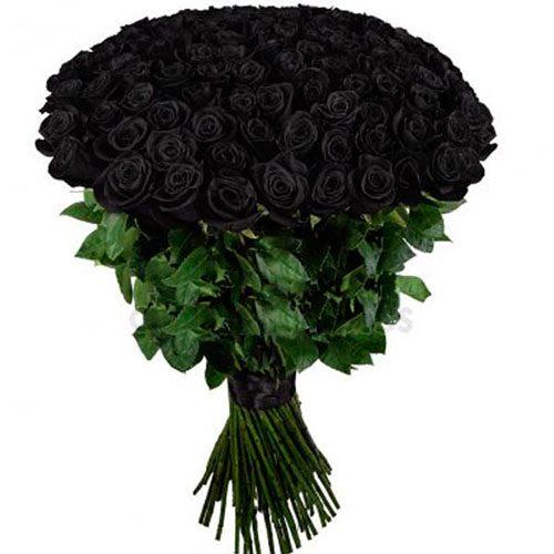 фото букета 101 чорна троянда