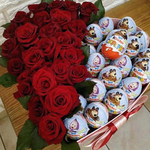 коробка серце с трояндами та кіндерами