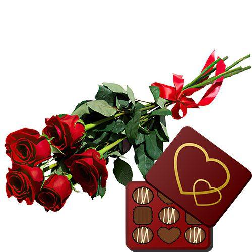 фото товару 5 червоних троянд із цукерками
