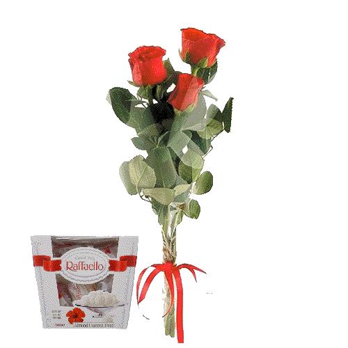 три троянди та цукерки