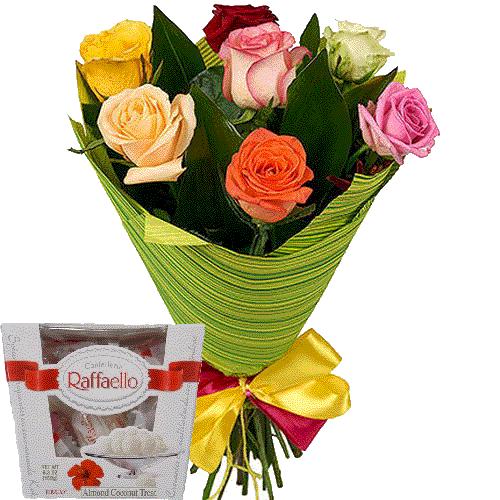 троянди та цукерки рафаело