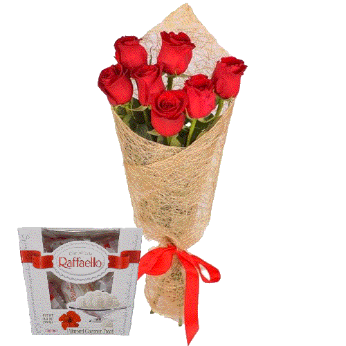 букет троянд і цукерки
