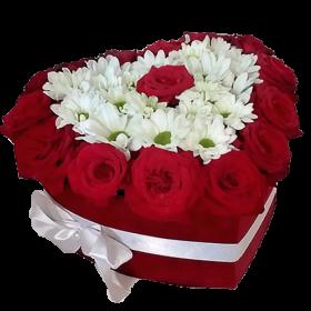 коробочка повітряне кохання троянди та хризантеми