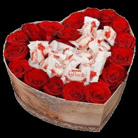 коробочка солодке серце троянди та рафаелло