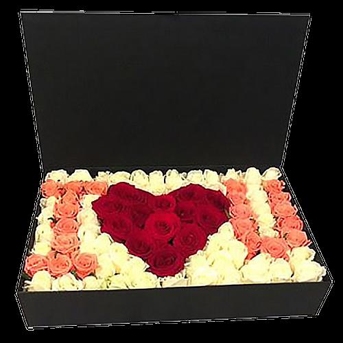 """подарунок коханій 101 троянда в коробці """"I love you"""""""