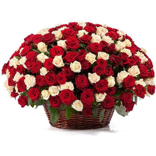 фото товару 101 троянда мікс у кошику