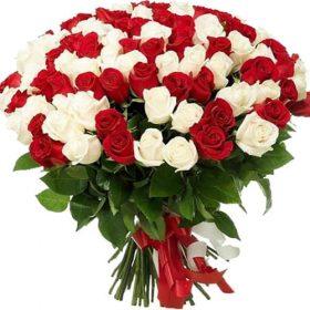 фото товару 101 червона і біла троянда