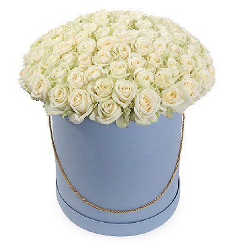 фото букета 101 троянда біла у капелюшній коробці