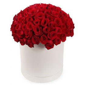 фото букета 101 троянда червона у капелюшній коробці