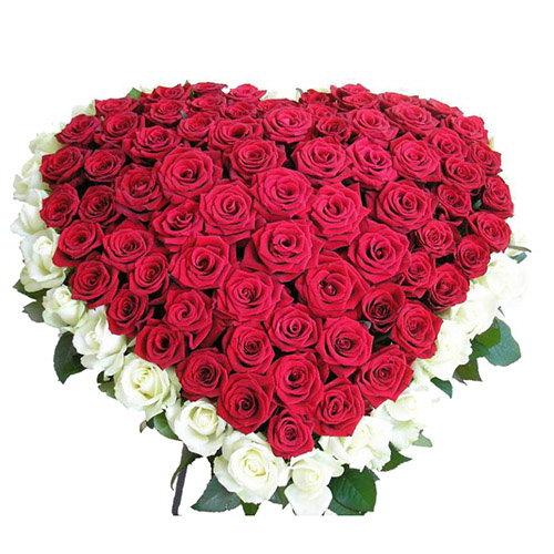 фото товару 101 троянда серце: червона та біла