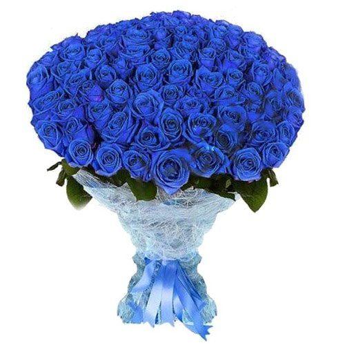 фото товару 101 синя троянда (фарбована)