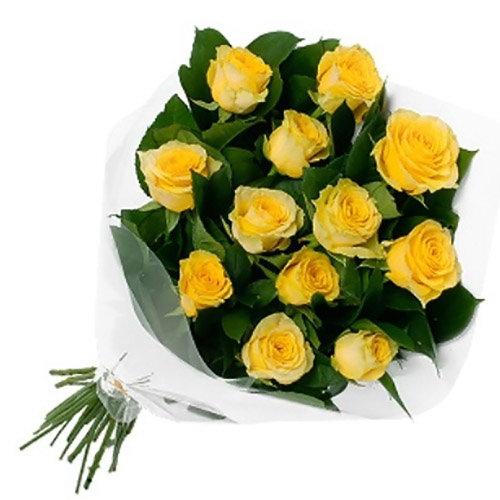 фото букета 11 жовтих троянд