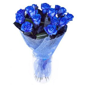 фото букета 17 блакитних троянд (фарбованих)