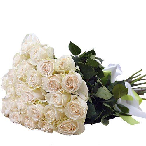 фото товару 25 білих троянд