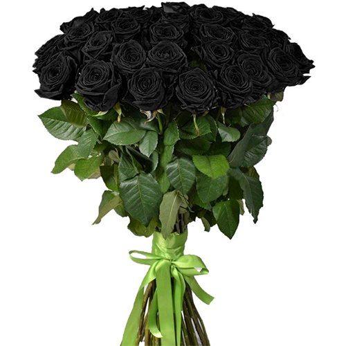 фото букета 25 чорних троянд
