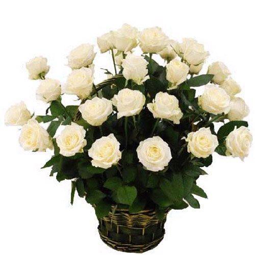 фото товару 35 білих троянд у кошику