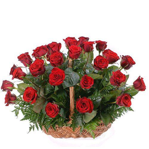 фото товару 35 червоних троянд у кошику