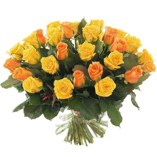 фото товару 51 жовта і персикова троянда