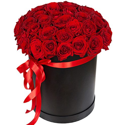 фото 51 троянда червона у капелюшній коробці