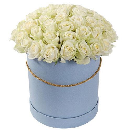 фото товару 51 троянда біла у капелюшній коробці