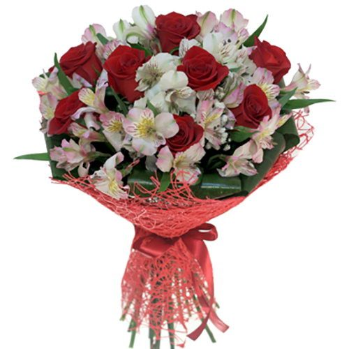 """фото товару Букет """"Корида"""" троянди та альстромерії"""