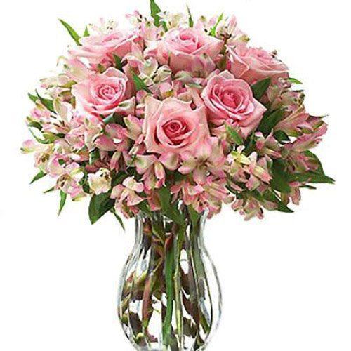 """фото товару Букет """"Ніжний настрій"""" троянди та альстромерії"""