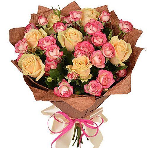 букет Кремова троянда і спрей фото товару