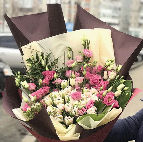 фото Кущова троянда з еустомою