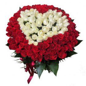 фото товару Серце 101 троянда: біла та червона