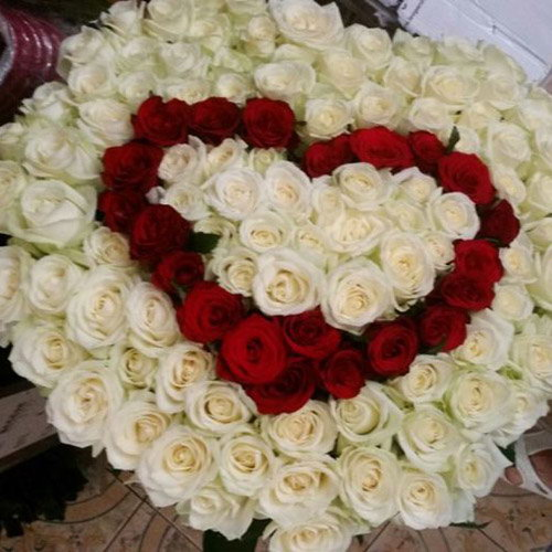 фото букета Серце 101 троянда, 3 слоя