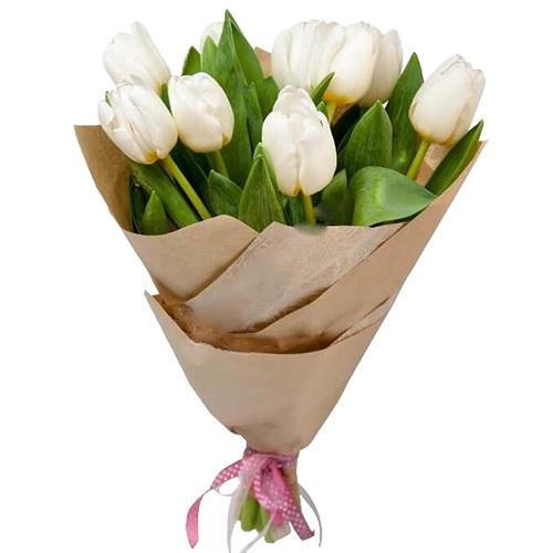 букет 11 білих тюльпанів