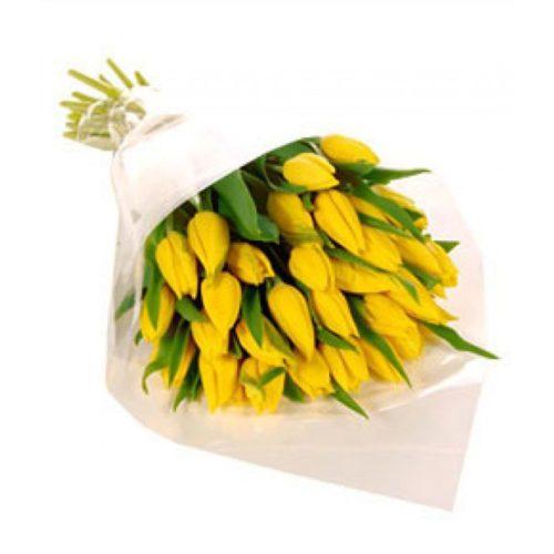 фото букета 25 жовтих тюльпанів