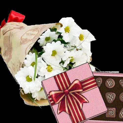фото подарунка 3 хризантеми з цукерками