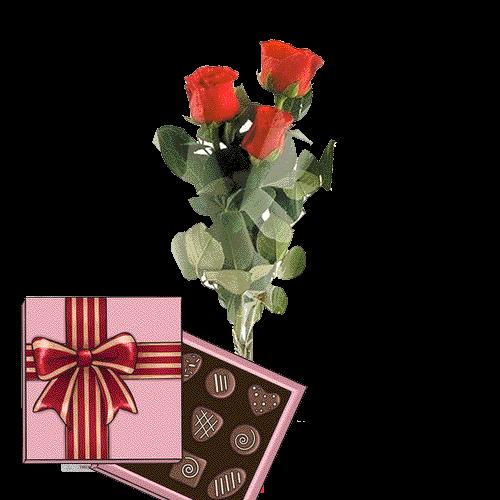 подарунок до дня народження 3 червоні троянди з цукерками