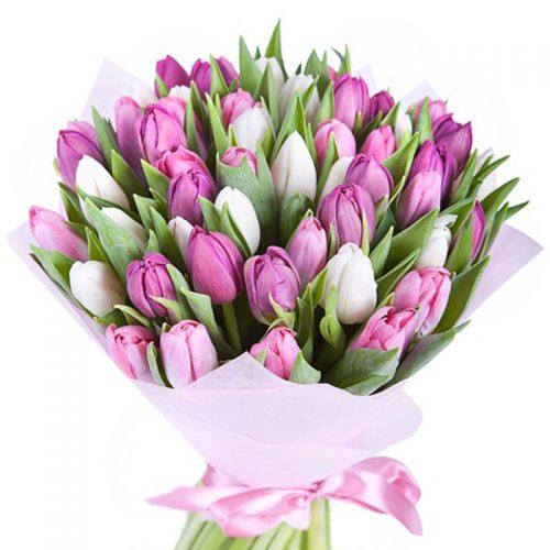 букет 49 тюльпанів білих і рожевих фото