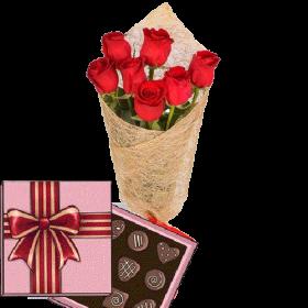 подарунок з доставкою 7 червоних троянд із цукерками