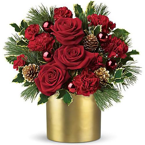 """Коробка """"Зимова троянда"""" прикрашена ялинкою"""