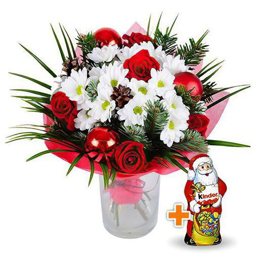 """Букет """"Новорічний подаруночок"""" і шоколадний Дід Мороз"""