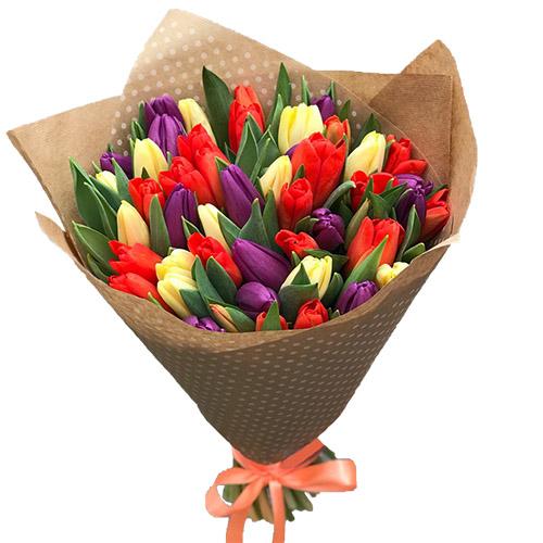 букет 25 тюльпанів мікс